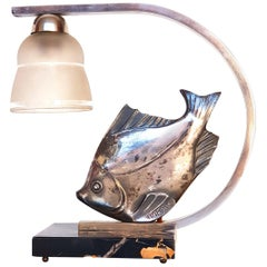 """Art Deco Lamp """"Fish"""", Silver Plated, Signed """"M. Font"""", 1920s"""