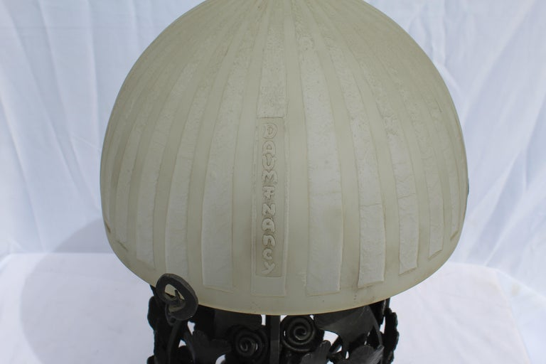 Art Deco Lamp Glass and Forged Iron Base after E.Brandt and Daum In Good Condition For Sale In Los Angeles, CA