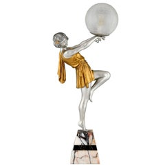 Art Deco Lamp Lady Holding a Ball Emile Carlier, France, 1930