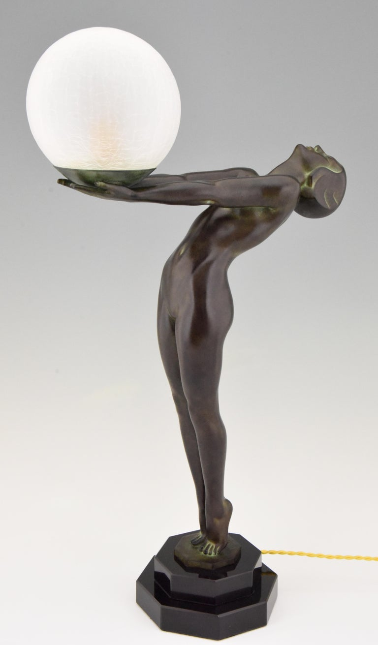 French Art Deco Style Lamp Lumina Standing Nude Sculpture Max Le Verrier Original For Sale