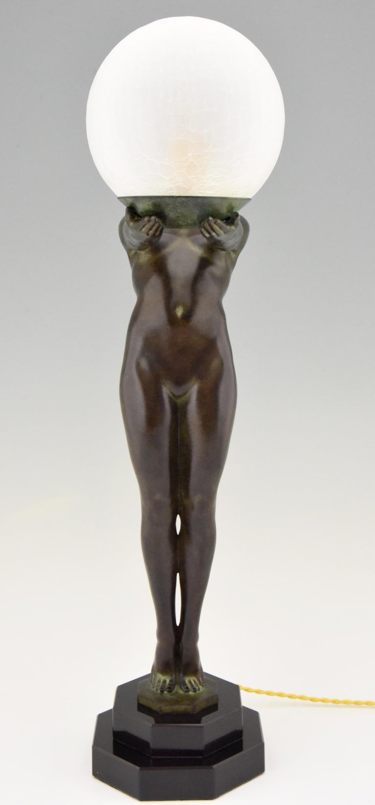 Patinated Art Deco Style Lamp Lumina Standing Nude Sculpture Max Le Verrier Original For Sale