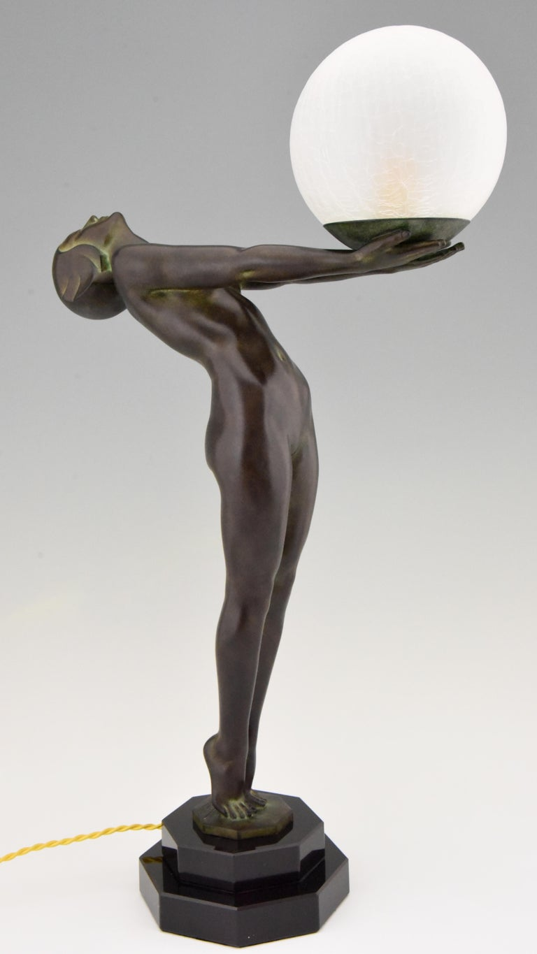 Art Deco Style Lamp Lumina Standing Nude Sculpture Max Le Verrier Original In Excellent Condition For Sale In Antwerp, BE