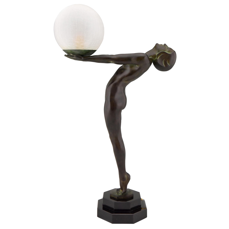 Art Deco Style Lamp Lumina Standing Nude Sculpture Max Le Verrier Original
