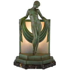 Art Deco Lamp Sculpture Nude with Scarf, Fayral, Max Le Verrier, 1930