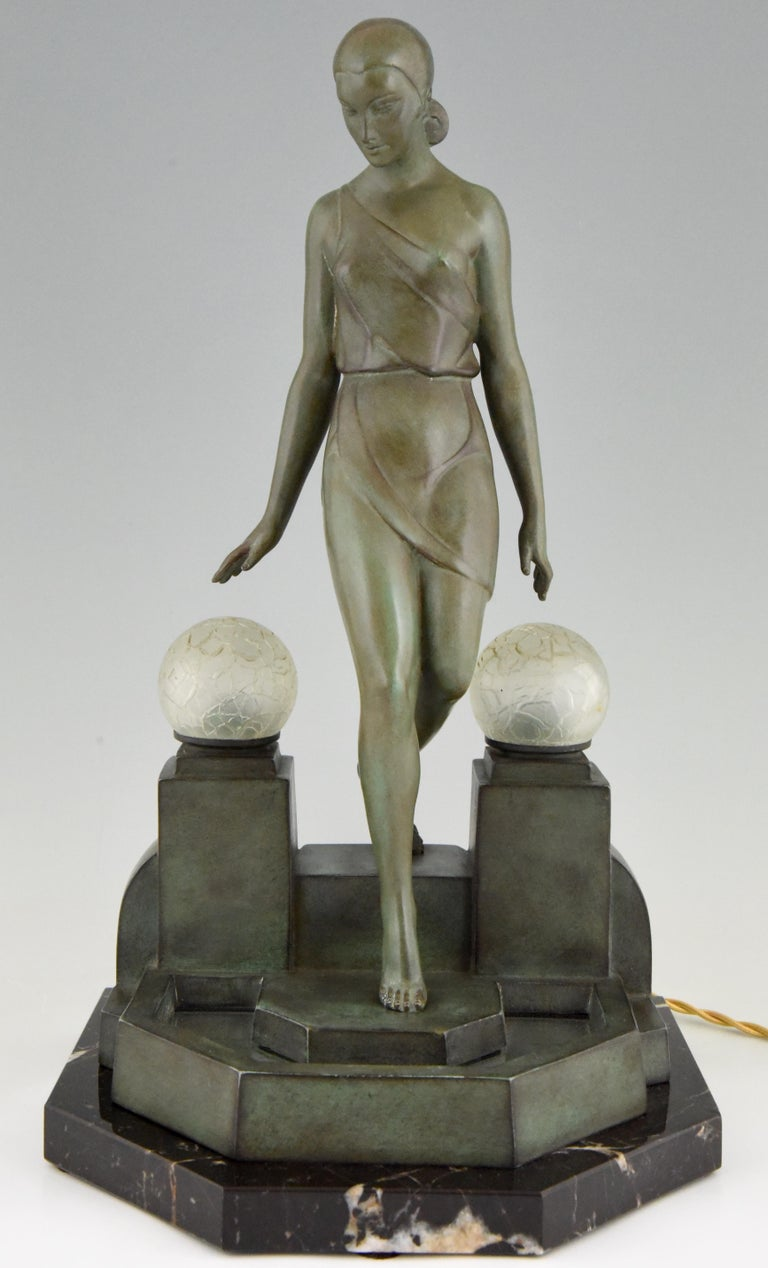 French Art Deco Lamp with Lady Fayral, Pierre Le Faguays, Max Le Verrier Original, 1930 For Sale