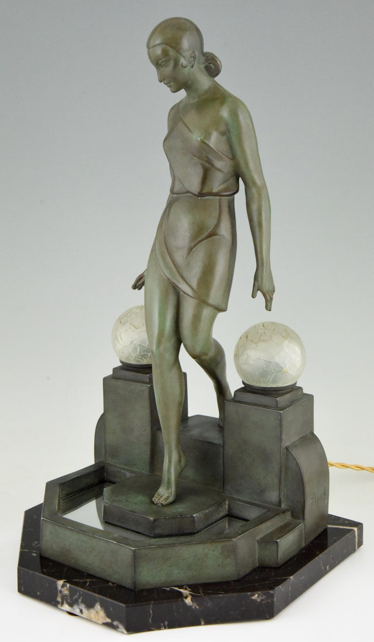 Patinated Art Deco Lamp with Lady Fayral, Pierre Le Faguays, Max Le Verrier Original, 1930 For Sale