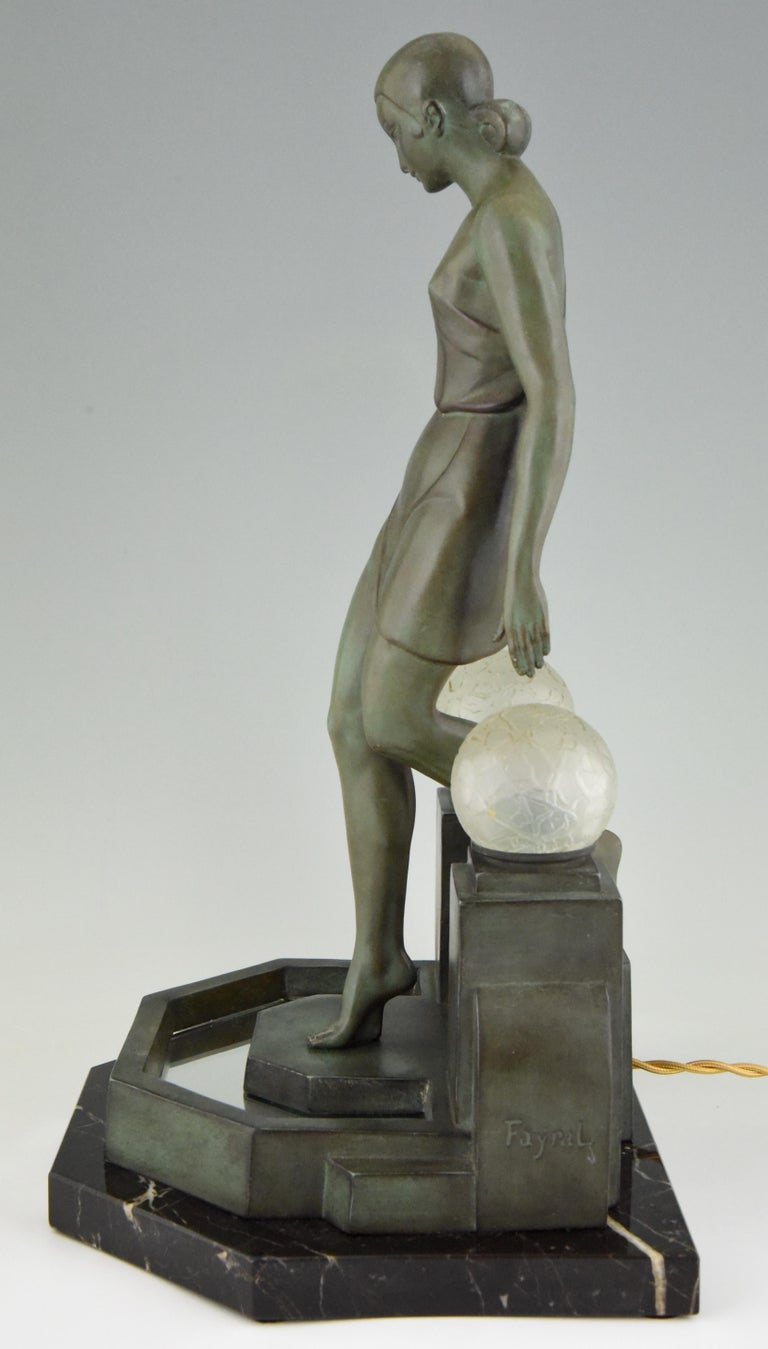 Mid-20th Century Art Deco Lamp with Lady Fayral, Pierre Le Faguays, Max Le Verrier Original, 1930 For Sale