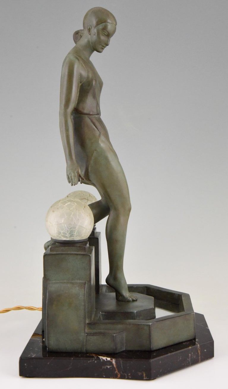 Art Deco Lamp with Lady Fayral, Pierre Le Faguays, Max Le Verrier Original, 1930 For Sale 1