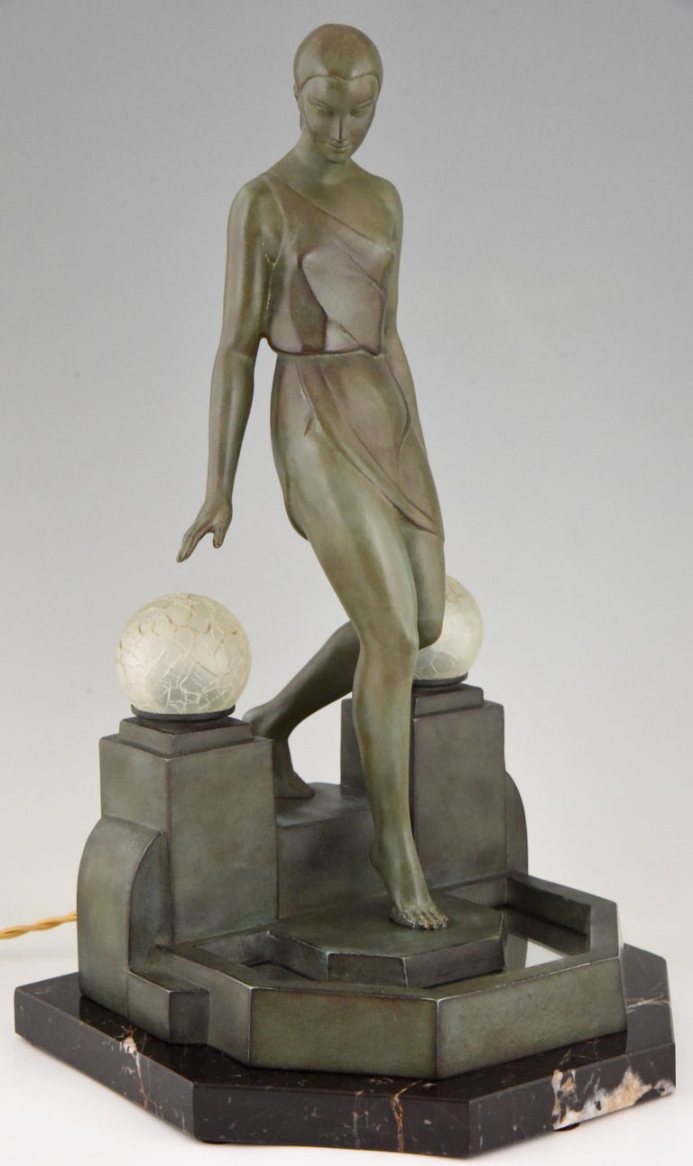 Art Deco Lamp with Lady Fayral, Pierre Le Faguays, Max Le Verrier Original, 1930 For Sale 2