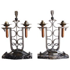 Art Déco Lamps In Wrought Iron