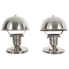 Art Deco Lamps Pair of Nickel Desk Lights, France, 1940