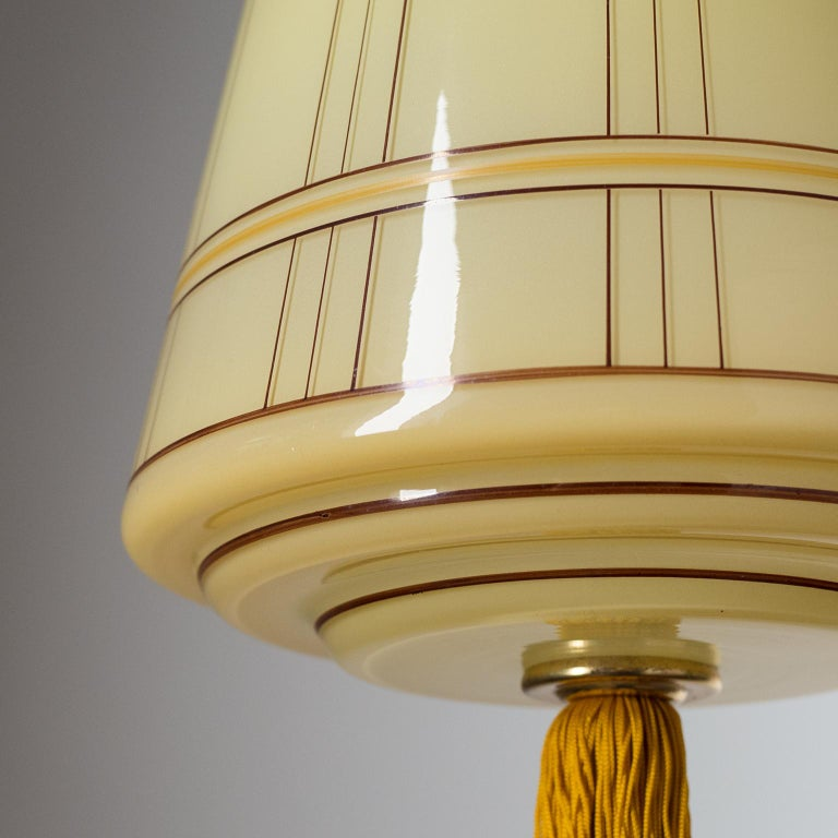 Mid-20th Century Art Deco Lantern, circa 1930, Hand Painted Glass and Brass