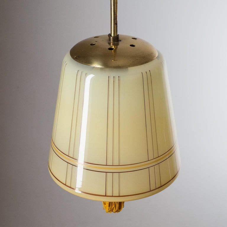 Art Deco Lantern, circa 1930, Hand Painted Glass and Brass 1