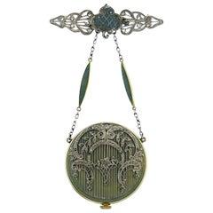 Art Deco Lapel Watch Pendant Pin Diamond Platinum Gold Enamel