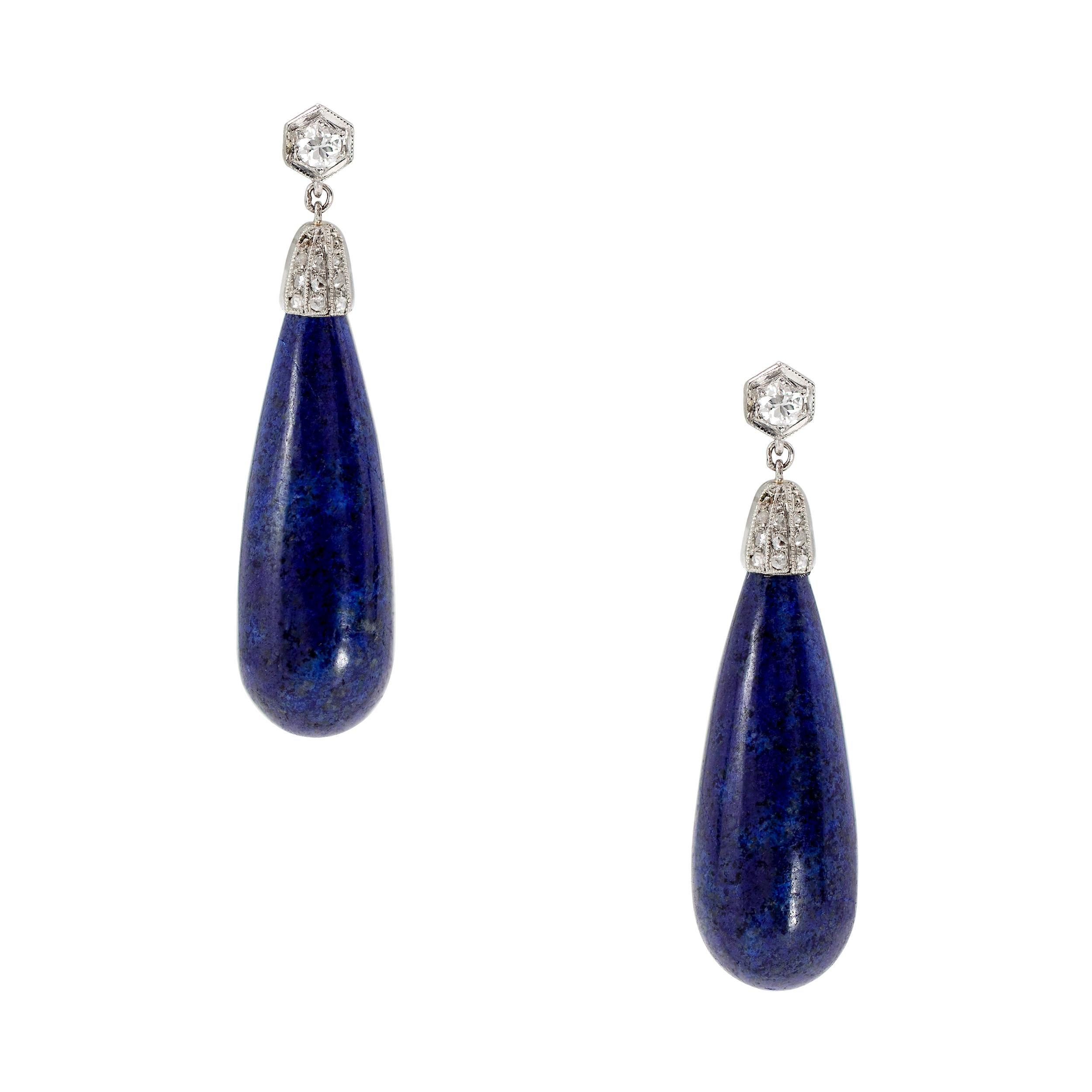 Art Deco Lapis and Diamond Drop Earrings in Platinum