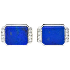 Art Deco Lapis Diamond Platinum Men's Cufflinks