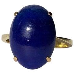 Art Deco Lapis Lazuli and 14 Carat Gold Ring