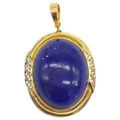 Art Deco, Lapis Lazuli and Diamond Pendant, Enhancer