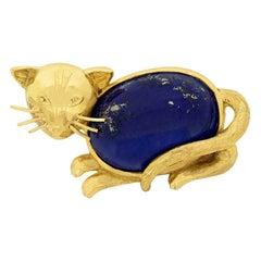Art Deco Style Lapis Lazuli Cat Brooch, circa 1930s
