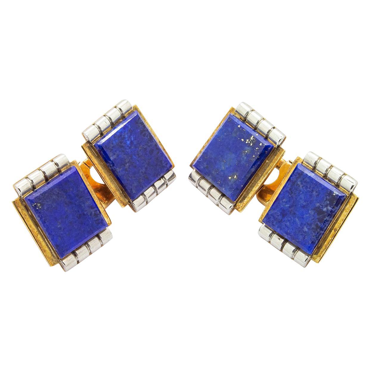 Art Deco Lapis Lazuli Gold Cufflinks