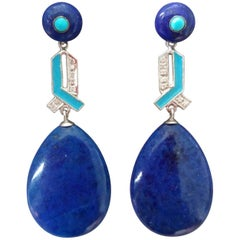 Art Deco Lapis Lazuli Gold Turquoise Diamonds Blue Color Enamel Drop Earrings