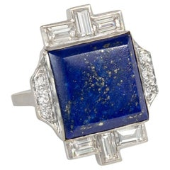 Art Deco Lapis Plaque and Diamond Ring in White Gold