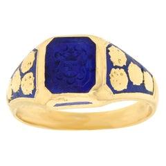 Art Deco Lapis Seal Ring