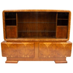 Art Deco Large Bookcase Cabinet in a Stunning Figured Walnut