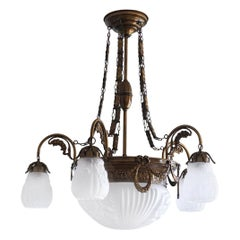 Art Deco Large Brass Frosted Glass Seven-Light Chandelier