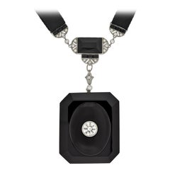 Art Deco Large Carved Onyx and Diamond Locket with Silk Sautoir 2.00 Carat