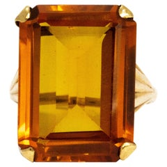 Art Deco Large Citrine 9 Carat Cocktail Ring