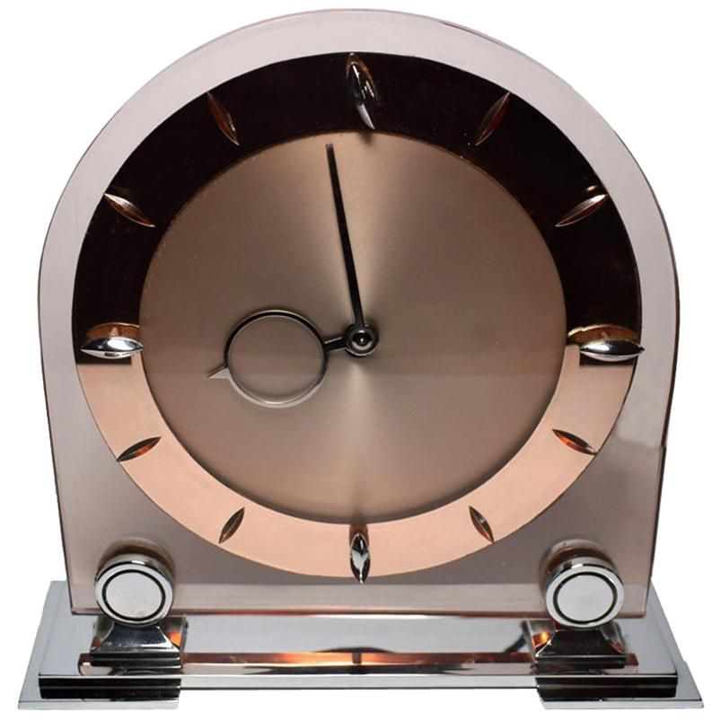 Art Deco Large English 1930s Pink Glass and Mirror Mantle Clock