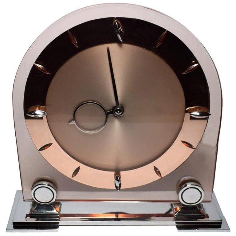 Art Deco Large English 1930s Pink Glass and Mirror Mantle Clock For Sale