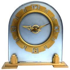 Art Deco Large English Blue Glass Mantle Clock, 1930