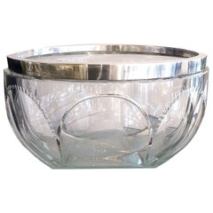 Art Deco Large Faceted Crystal Bowl with Silvered Frame by Kirby Beard and Co.