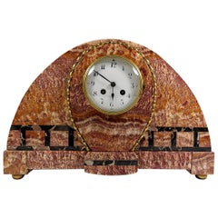 Art Deco Large French Marble Clock in Red Onyx Marble and Portoro