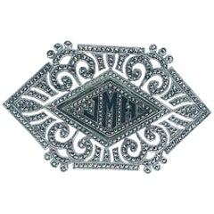Art Deco, Large Marcasite Sterling Pin