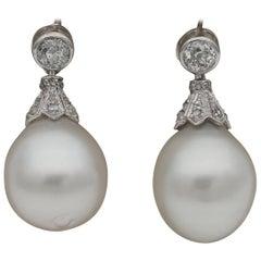 Art Deco Large South Sea Pearl Rose Cut Diamond and More .55 Carat Rare Earrings