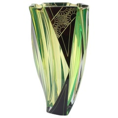 Art Deco Large Uranium Glass Vase by Karl Palda, circa 1930