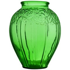 Art Deco Large Vase in Transparent Green Glass in the Style of Etaleune, Paris
