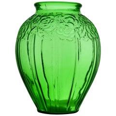 Art Deco Large Vase in Transparent Green Glass in the Style of Etaleune, Paris