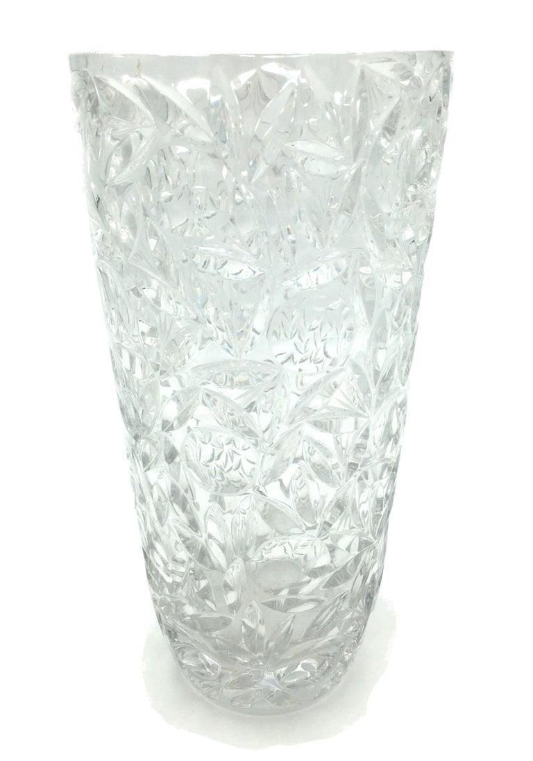 Art Deco Large Vintage Lead Crystal Cut Vase, circa 1940 For Sale 5
