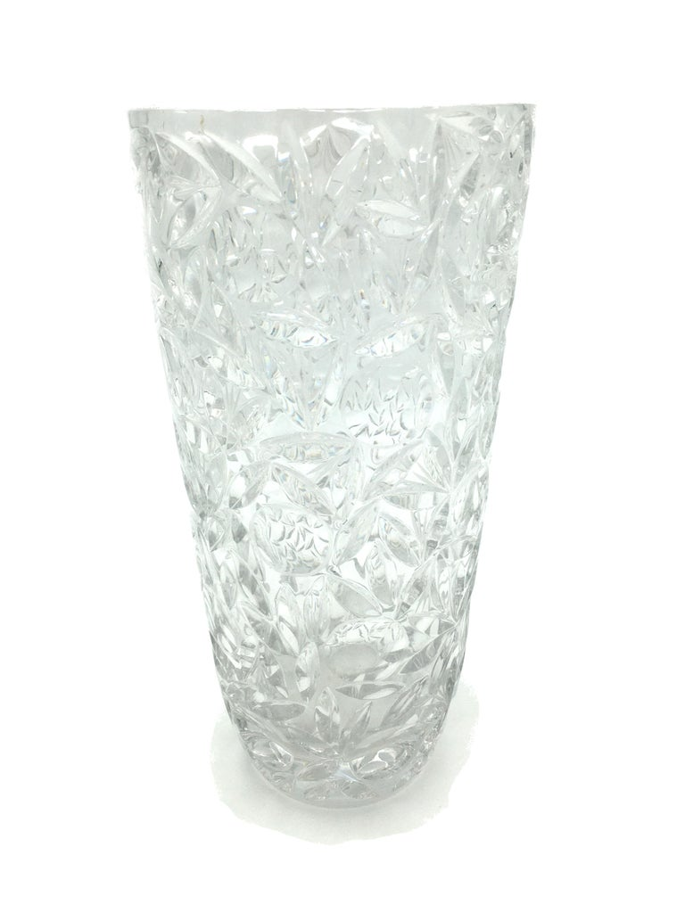 French Art Deco Large Vintage Lead Crystal Cut Vase, circa 1940 For Sale