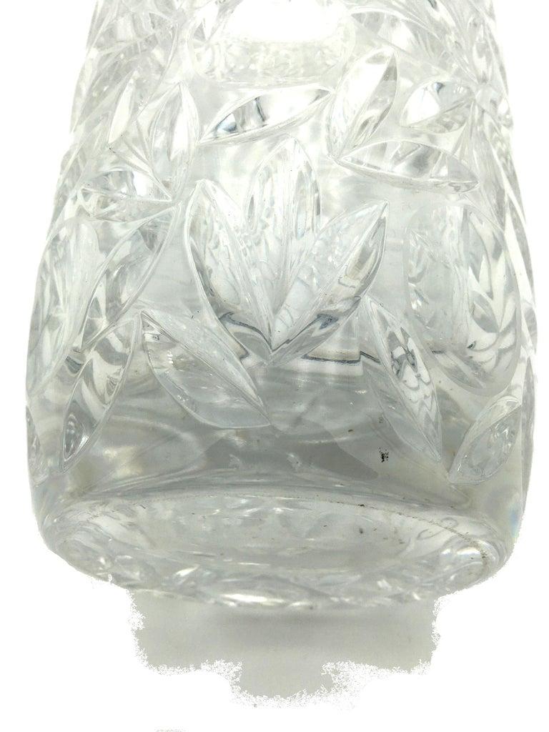 Art Deco Large Vintage Lead Crystal Cut Vase, circa 1940 For Sale 2