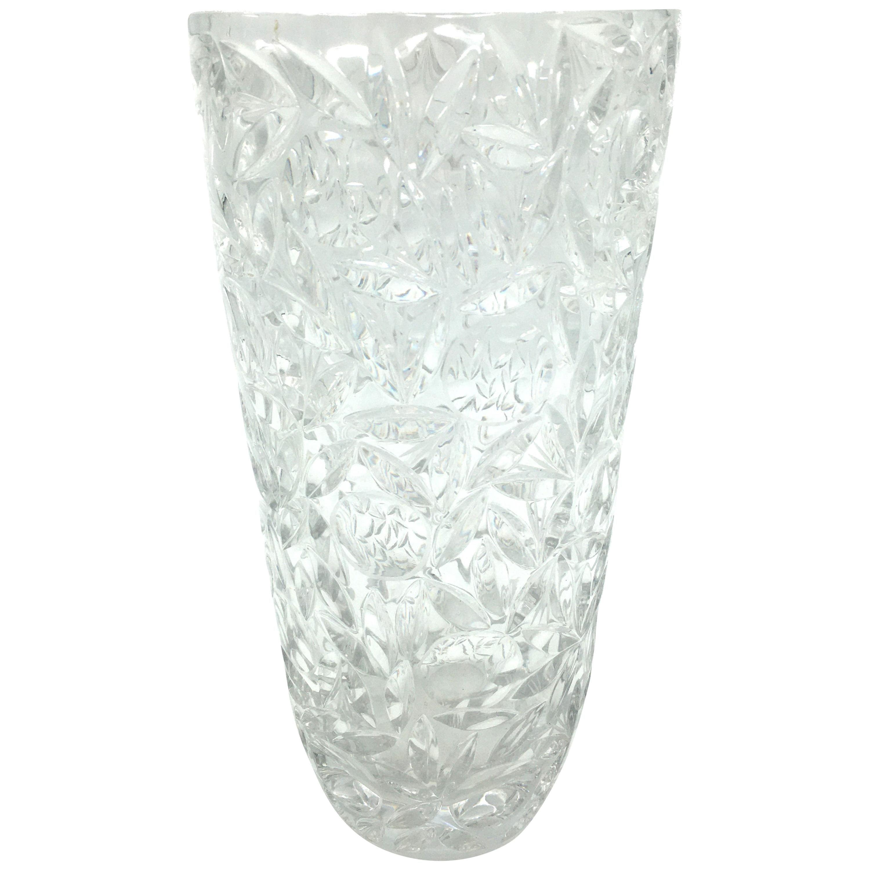 Art Deco Large Vintage Lead Crystal Cut Vase, circa 1940