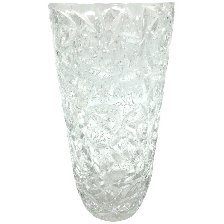 Art Deco Large Vintage Lead Crystal Cut Vase, circa 1940 For Sale