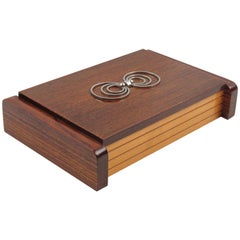 Art Deco Large Wood Chrome Box