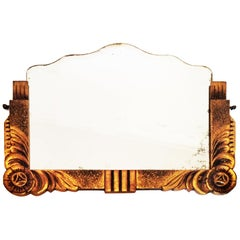 Art Deco Large Wood Mirror Gilding with Gold Leaf, 1930s