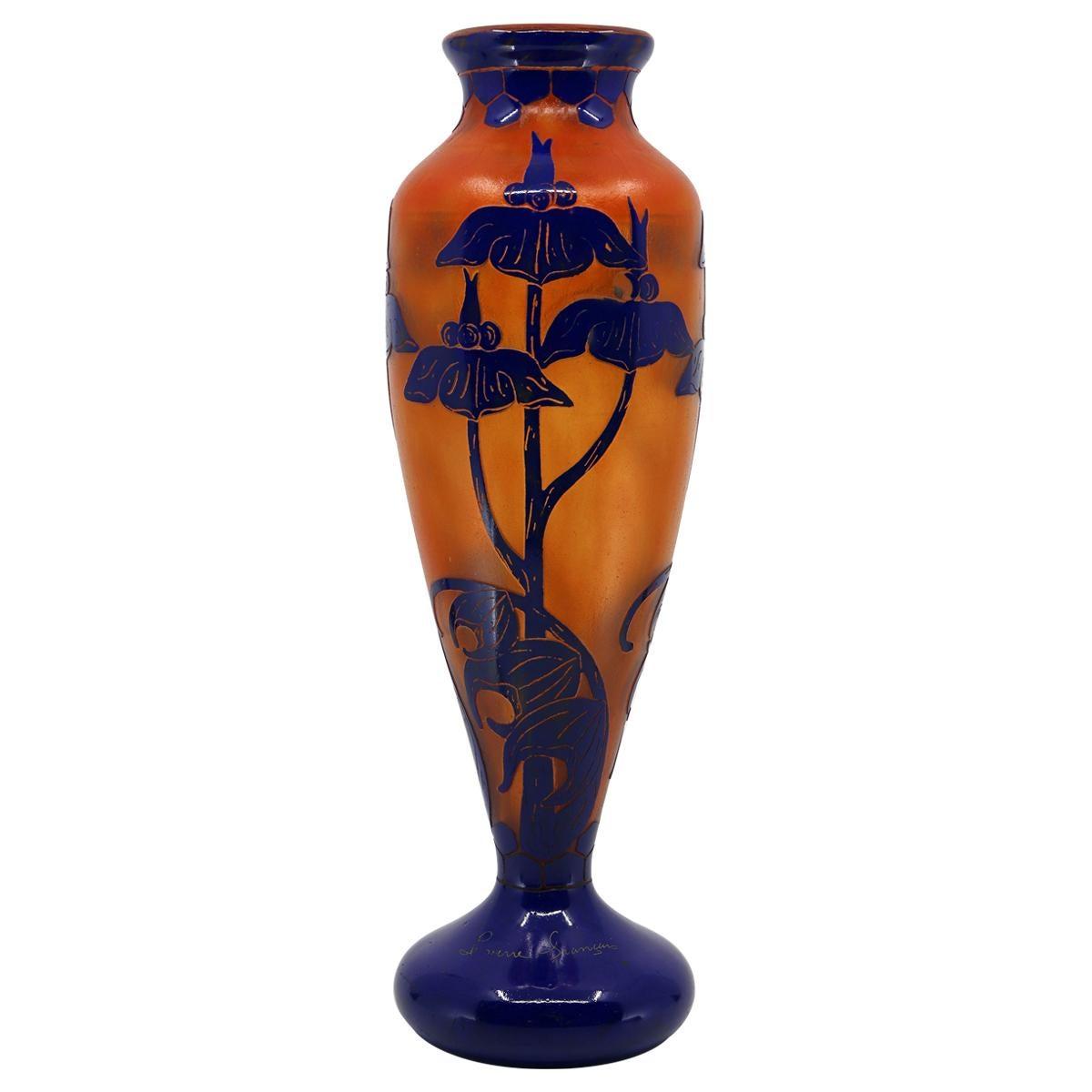 Art Deco Le Verre Francais Glass Vase