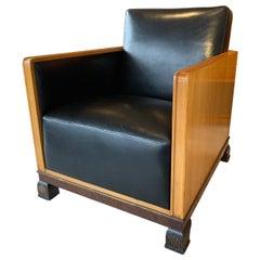 Art Deco Leather and Elm Armchair
